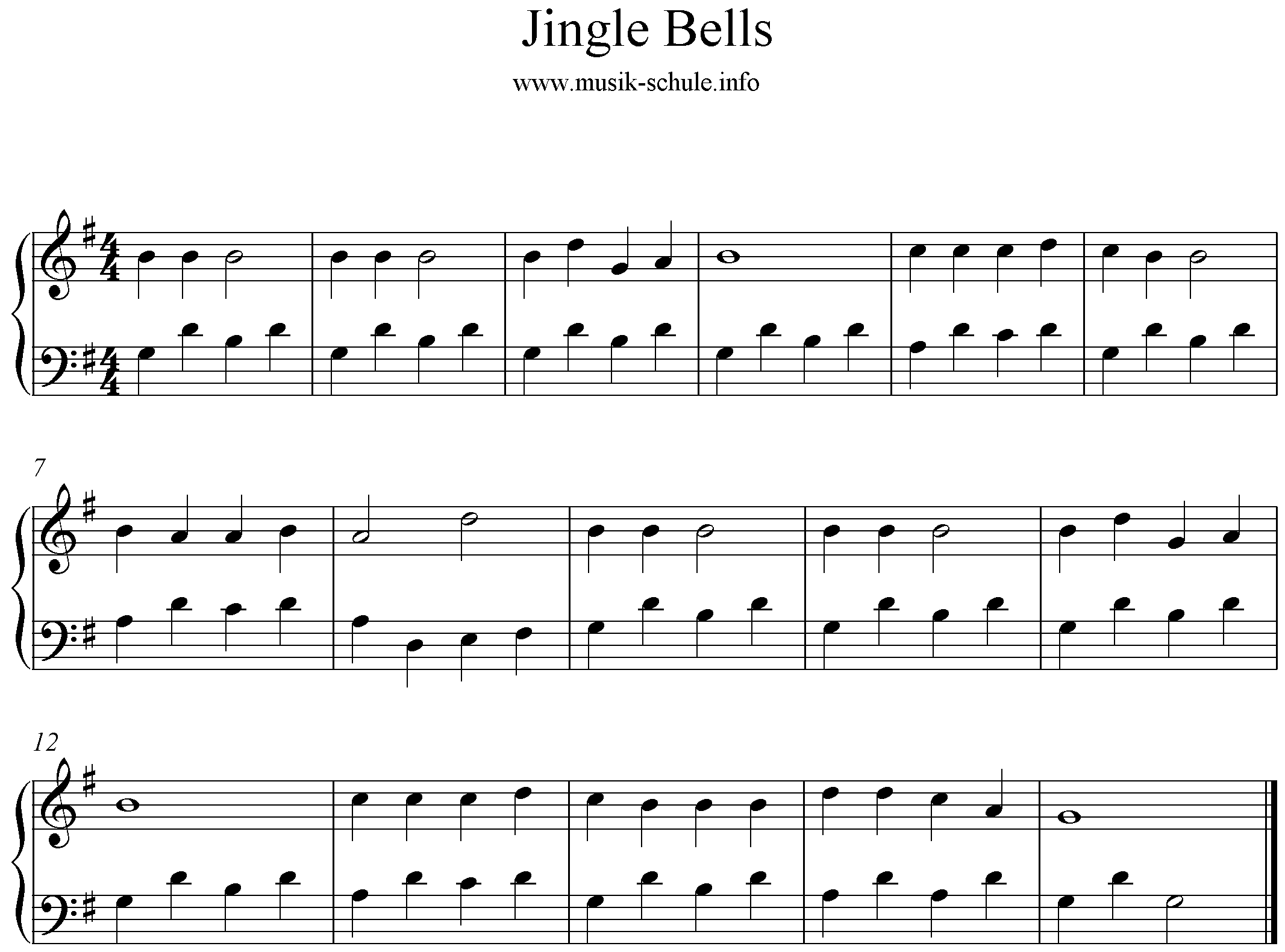 noten piano Jingle bells