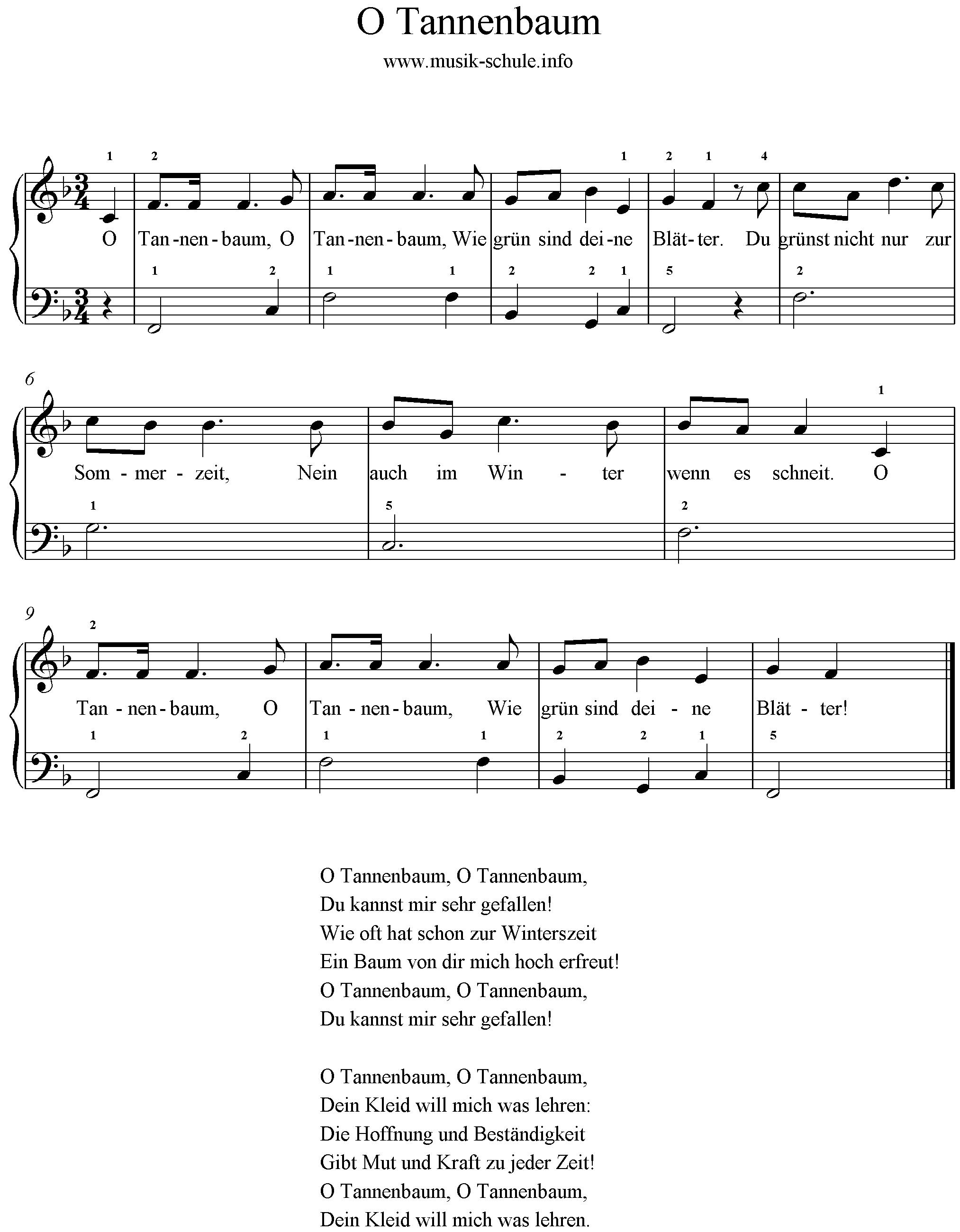 Noten Weihnachtslieder Klavier.O Tannenbaum Leicht