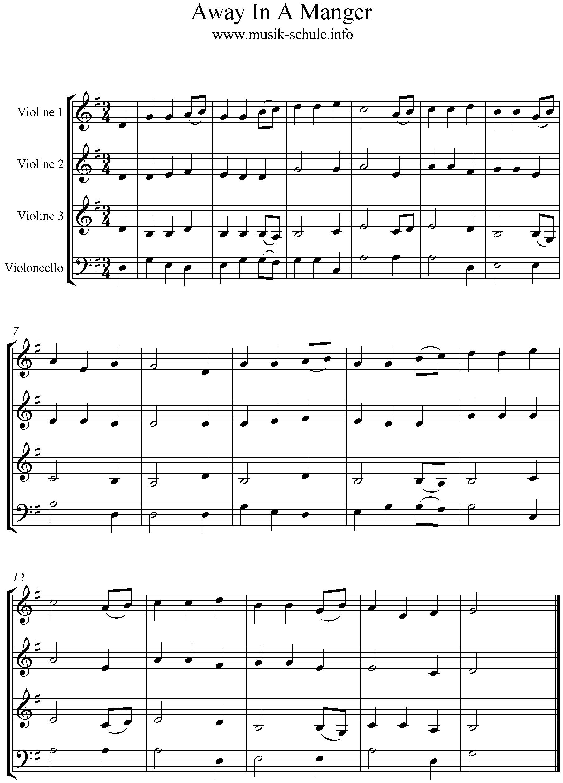 Away in A Manger- Quartet - Musikschule Stadt Haag