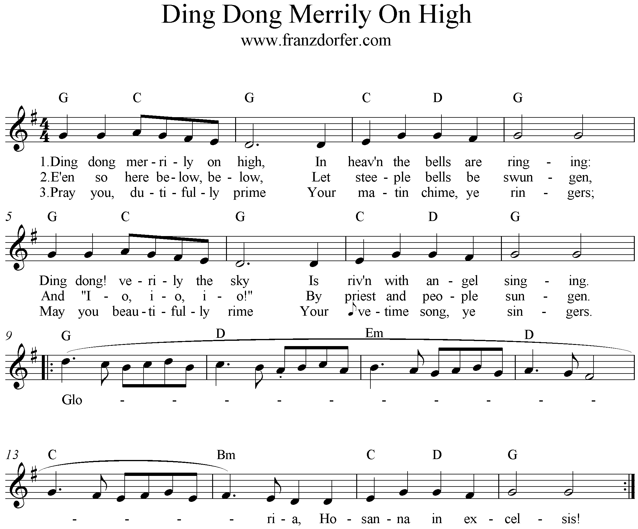 Noten Ding Don Merrily On High, G-Major